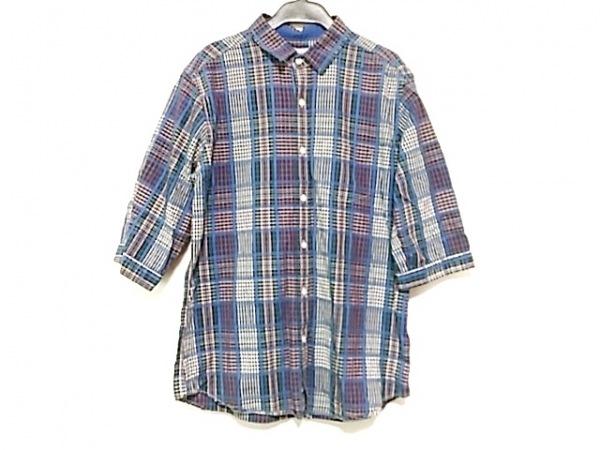 ザ ショップ ティーケー 七分袖シャツ サイズL メンズ ブルー×ネイビー×マルチ