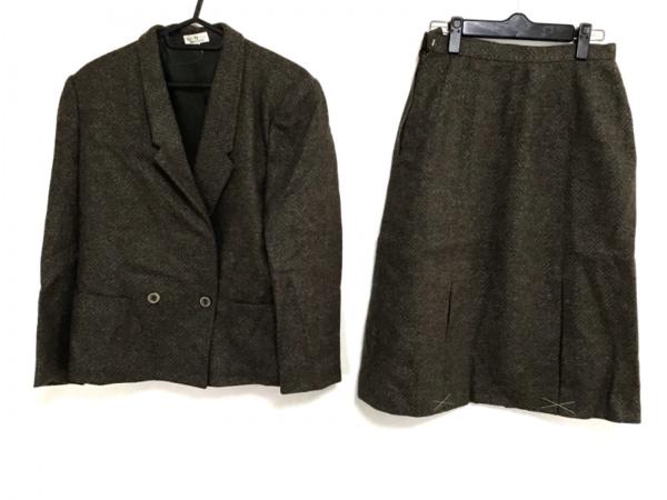 インフィニート スカートスーツ サイズ40 M レディース ダークブラウン×カーキ