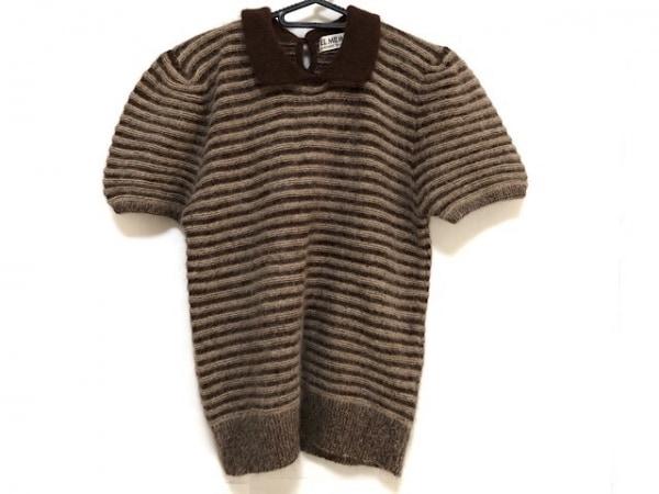 エルミダ 半袖セーター サイズ12 L レディース美品  ダークブラウン×ベージュ