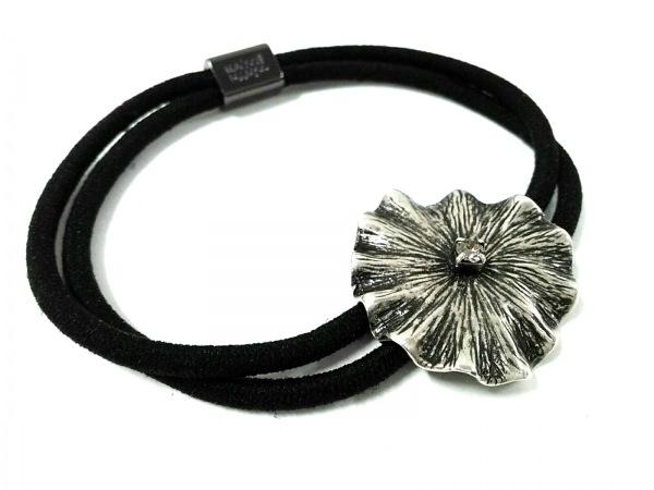 コレットマルーフ アクセサリー美品  金属素材×化学繊維 シルバー×黒
