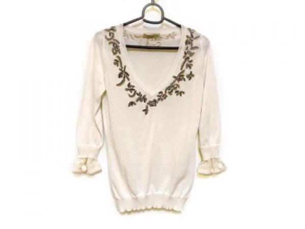 エルマノシェルビーノ 七分袖セーター サイズ40 M レディース 白×ベージュ×マルチ