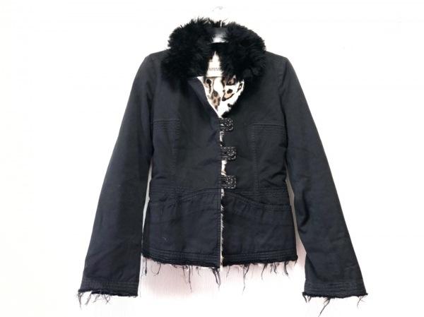 エルマノシェルビーノ ジャケット サイズ40 M レディース 黒×ベージュ×マルチ