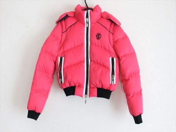 ジャストカヴァリ ダウンジャケット サイズ38 S レディース美品  ピンク×白×黒 冬物