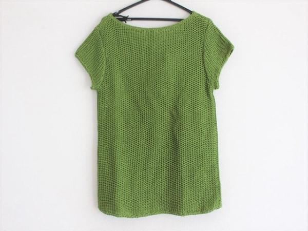 トリーバーチ 半袖セーター サイズM レディース美品  グリーン シースルー