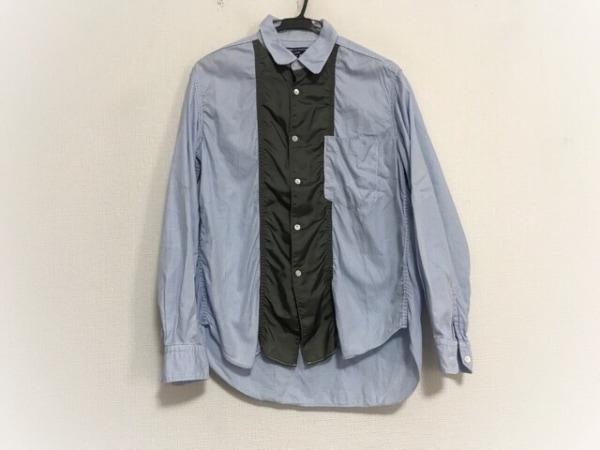 コムデギャルソンオム 長袖シャツ サイズS メンズ 白×ライトブルー×カーキ