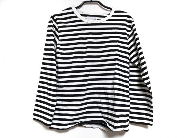 agnes b(アニエスベー) 長袖Tシャツ サイズT3 レディース 黒×白 ボーダー