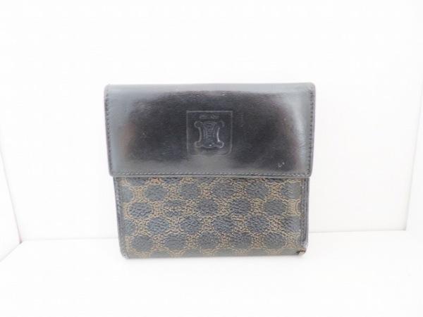 CELINE(セリーヌ) Wホック財布 マカダム柄 黒×ブラウン PVC(塩化ビニール)×レザー