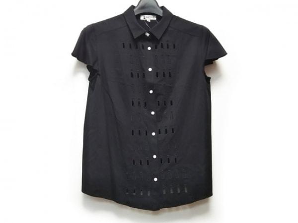 PICONE(ピッコーネ) 半袖シャツブラウス サイズ38 S レディース 黒 シースルー/刺繍