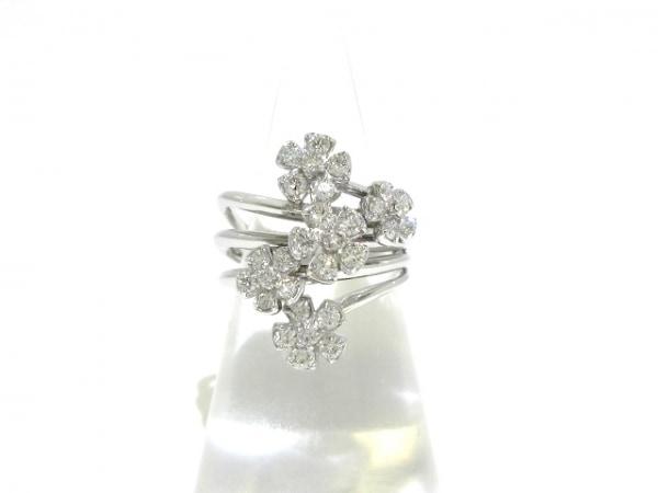 ポンテヴェキオ リング美品  K18WG×ダイヤモンド 0.90カラット/フラワー