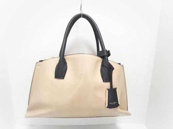 HENRI BENDEL(ヘンリベンデル) ハンドバッグ美品  ベージュ×黒 型押し加工 レザー
