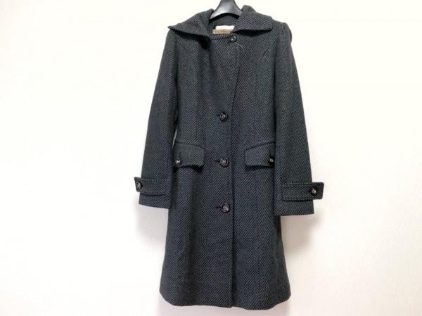 LALLEGRO(ラレグロ) コート サイズ38 M レディース 黒×グレー 冬物/ラメ