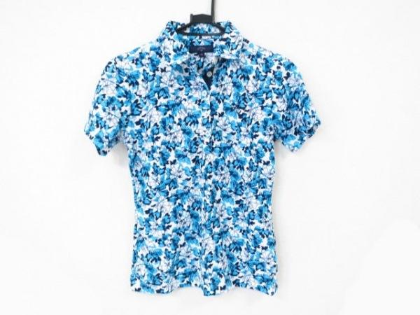 キャロウェイ 半袖ポロシャツ サイズM レディース美品  ライトブルー×ネイビー×白