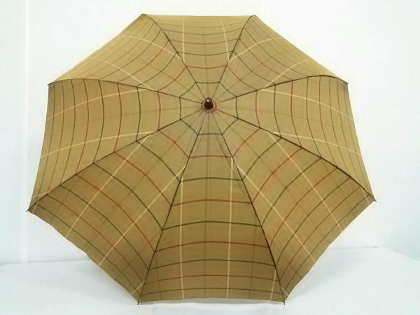 Burberry's(バーバリーズ) 折りたたみ傘新品同様  カーキ×レッド×マルチ チェック柄