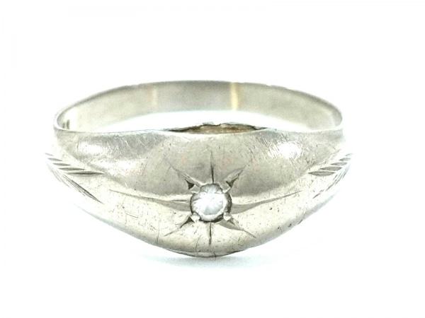 ノーブランド リング K14WG×ダイヤモンド クリア 総重量3.6g