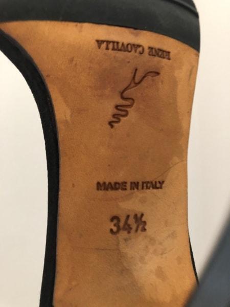 RENE CAOVILLA(レネカオヴィラ) サンダル 34 1/2 レディース 黒×クリア サテン