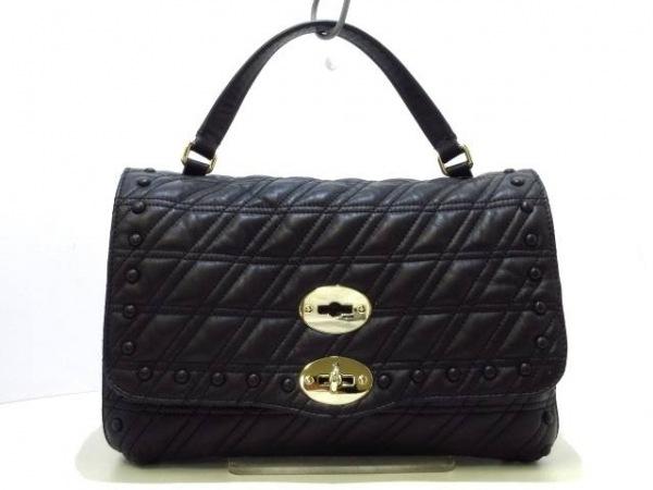 ザネラート ハンドバッグ美品  ポスティーナ S ゼータ 6377-45 黒 キルティング