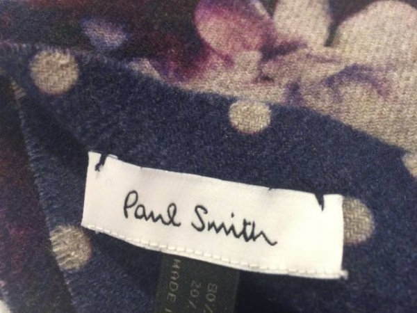PaulSmith(ポールスミス) マフラー ネイビー×グレージュ ドット柄 ウール×カシミヤ