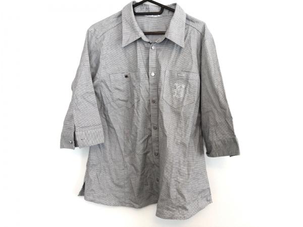 バレンザスポーツ 半袖シャツ サイズ44 L メンズ新品同様  白×黒 ラインストーン