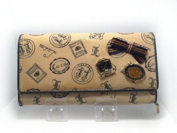 ea5bf2cbf46d LIZLISA(リズリサ) 長財布 アイボリー×黒 リボン PVC(塩化ビニール)×合皮 ...