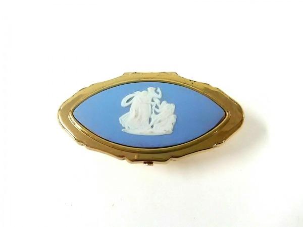 Stratton(ストラットン) 小物 ゴールド×ライトブルー×白 ミラー 金属素材