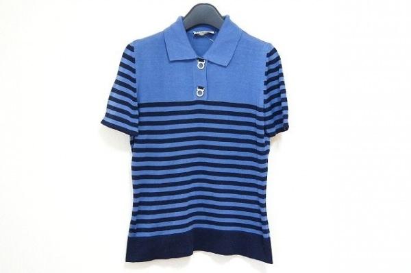 サルバトーレフェラガモ 半袖ポロシャツ サイズS レディース美品  ブルー×ネイビー