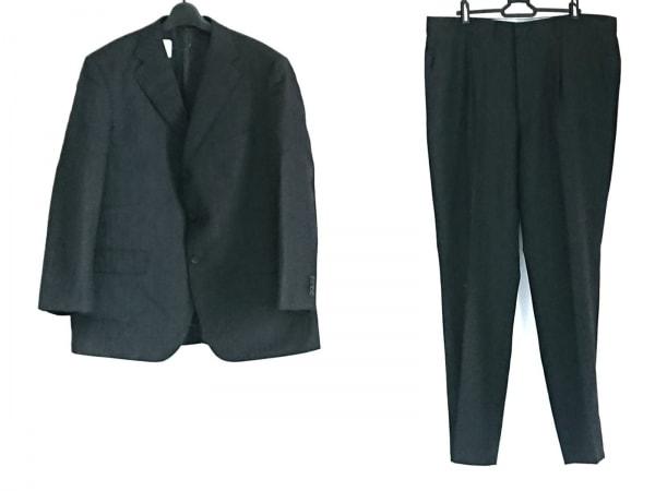 サヴィルロウ シングルスーツ メンズ美品  黒×ブルー ネーム刺繍/ストライプ