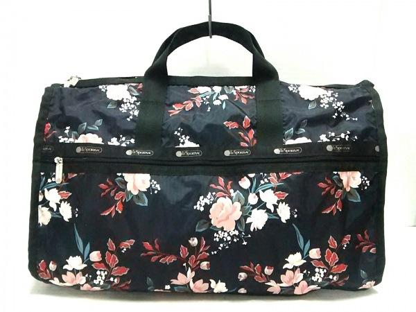 レスポートサック ボストンバッグ美品  黒×ピンク×マルチ 花柄 レスポナイロン