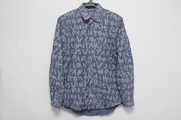 ルイヴィトン 長袖シャツ サイズXS メンズ ネイビー×白 モノグラムグラフティ