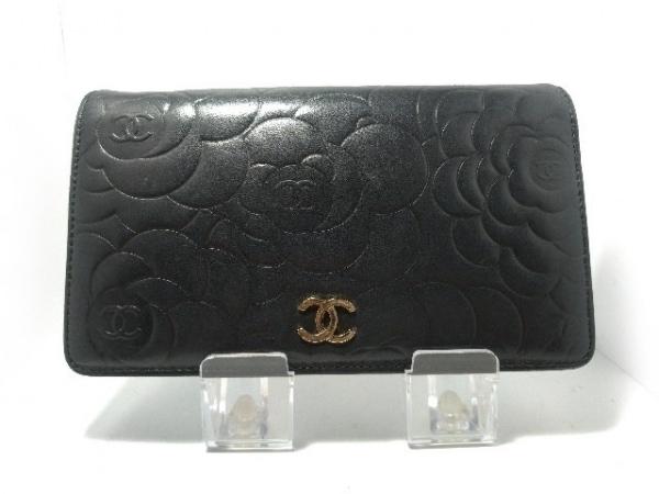 CHANEL(シャネル) 2つ折り財布 カメリア 黒 ラムスキン