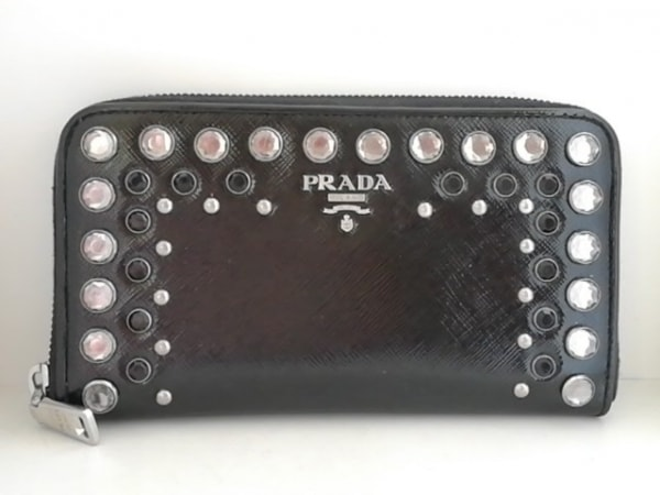 PRADA(プラダ) 長財布 - 黒×クリア ビジュー/ラウンドファスナー