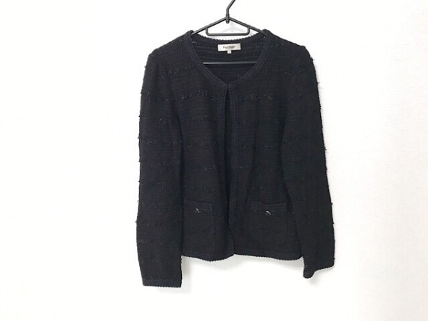 ポールスチュアート ジャケット サイズ8 M レディース 黒×ネイビー ツイード/ラメ