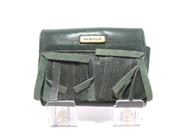 SEE BY CHLOE(シーバイクロエ) 2つ折り財布 ダークグリーン フリンジ レザー