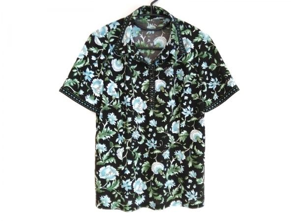 レリアン 半袖ポロシャツ サイズ13 L レディース 黒×ライトブルー×マルチ 花柄
