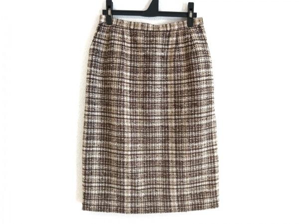 ロシャス スカート サイズ11 M レディース美品  ベージュ×ダークブラウン×マルチ