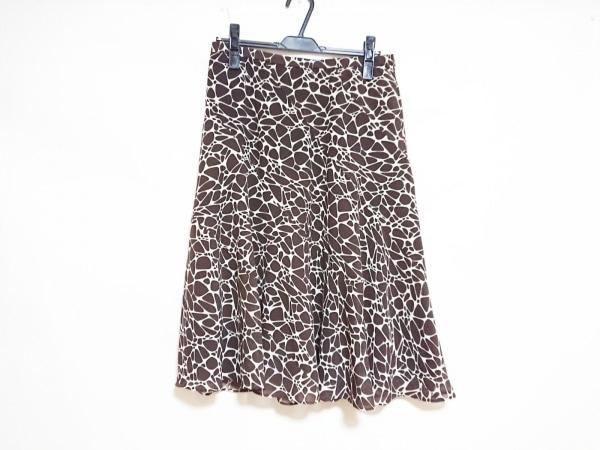 Leilian(レリアン) スカート レディース美品  ダークブラウン×白