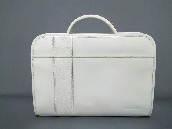 Castelbajac(カステルバジャック) ビジネスバッグ美品  白 型押し加工 レザー