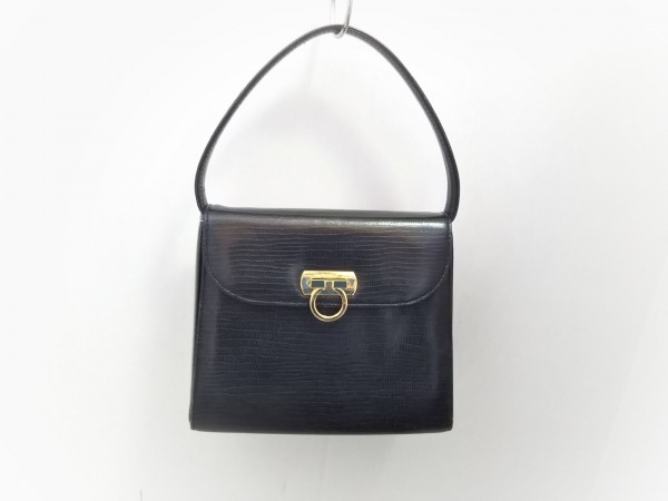 WAKO(ワコー) ハンドバッグ美品  黒 ミニサイズ/型押し加工 レザー