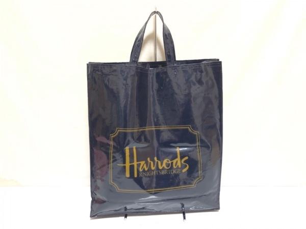 HARRODS(ハロッズ) トートバッグ ダークネイビー×ゴールド コーティングキャンバス