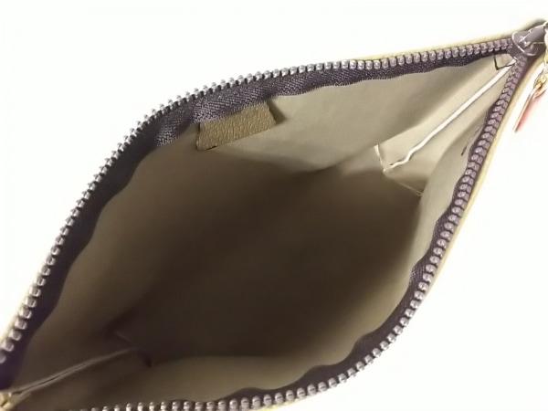 グッチプラス ポーチ ベージュ×ダークブラウン×ブラウン PVC(塩化ビニール)×レザー