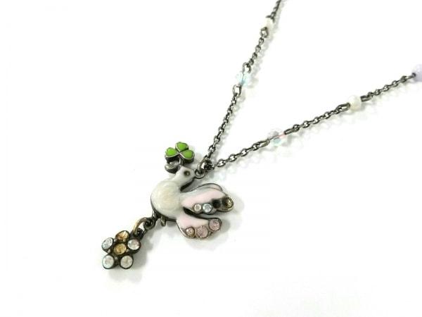 ANNA SUI(アナスイ) ネックレス美品  金属素材×ラインストーン シルバー×白×マルチ