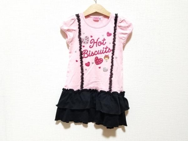 miki HOUSE(ミキハウス) ワンピース サイズ100 レディース美品  ピンク×黒×マルチ