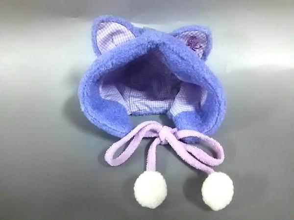 アナスイミニ ニット帽新品同様  パープル×白×マルチ 子供用/チェック柄/ネコ耳