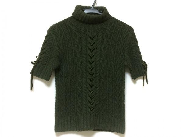 INGEBORG(インゲボルグ) 半袖セーター レディース美品  カーキ タートルネック/リボン