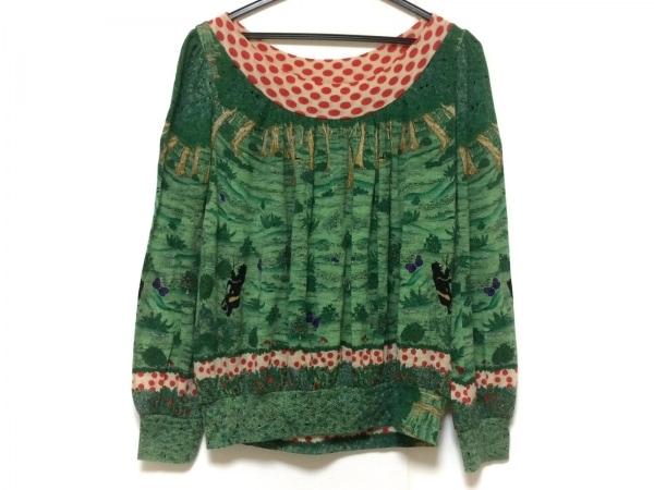 ツモリチサト 長袖カットソー サイズ2 M レディース グリーン×レッド×マルチ