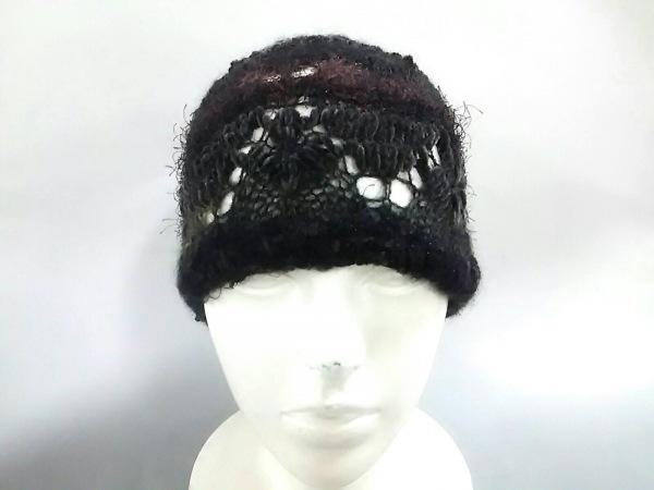 エムアンドキョウコ ニット帽 F美品  黒×ダークグレー×ダークブラウン
