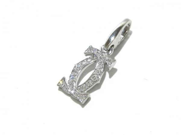 カルティエ ペンダントトップ新品同様  2Cダイヤチャーム K18WG×ダイヤモンド