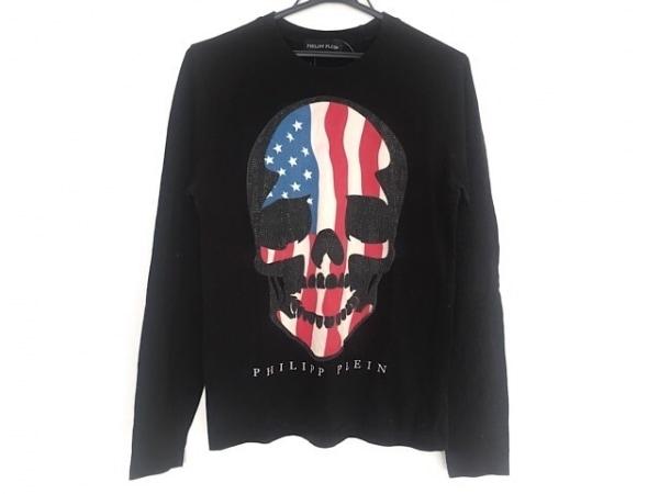 フィリッププレイン 長袖Tシャツ サイズM メンズ 黒×アイボリー×マルチ