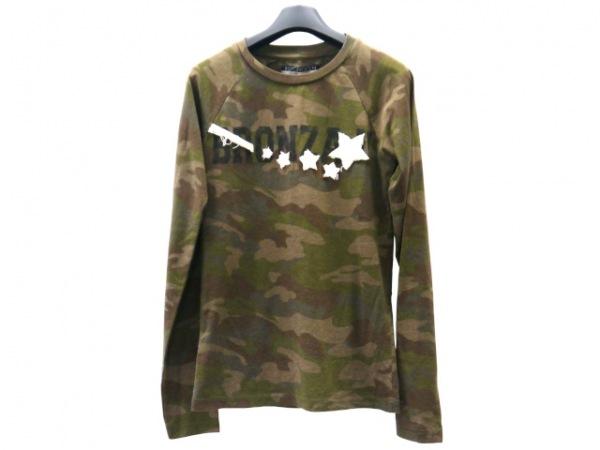 ハイドロゲン 長袖Tシャツ サイズS レディース グリーン×ダークブラウン×マルチ