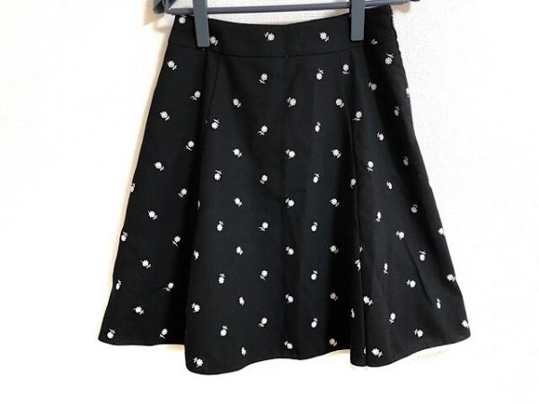 M'S GRACY(エムズグレイシー) スカート サイズ38 M レディース 黒×白 花柄/刺繍