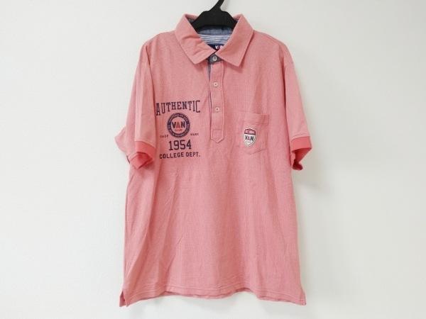 VAN(バン) 半袖ポロシャツ サイズL メンズ美品  レッド×白×ダークグレー CLUB
